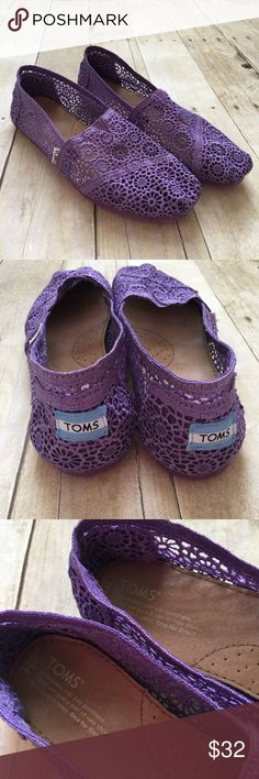 TOMS Purple Lavender Lace Crochet Shoes Flats In excellent condition with little wear and no blatant flaws. Very pretty! Reasonable offers welcome! Toms Shoes Flats & Loafers