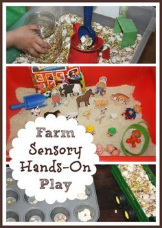 Farm sensory bins are fun to explore with small children. Engage and delight the senses while playing with favorite farm animals!