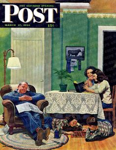 After Dinner At The Farm by John Falter, March 27, 1948, The Saturday Evening Post.