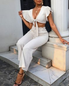 Boujee Outfits, Cute Casual Outfits, Spring Outfits, Fashion Outfits, Spring Summer Fashion, Womens Fashion, Brunch Outfit, Top Knot, High Waist