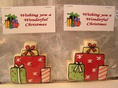 Christmas Presents [using wedding cake cookie cutter - how clever!] by Double Trouble Creations, via Flickr.  Could maybe do for birthday also?