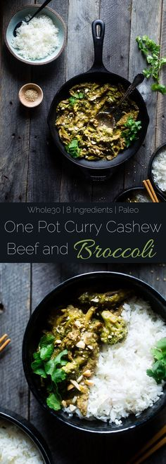 Whole30 Cashew Curry Beef and Broccoli - This quick and easy one pot curry beef and broccoli has creamy coconut milk and cashew butter! It's a healthy, low carb and whole30 approved weeknight meal! | http://Foodfaithfitness.com | /FoodFaithFit/