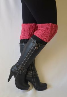 boot cuffs  hand knit rose pink boot cuffs boot socks by bstyle, $20.00