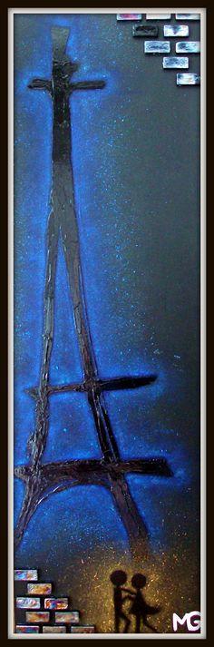 PARIS BY NIGHT  [13x42] Paris, Night, Painting, Painting Art, Paintings, Painted Canvas