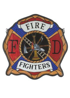 20 Inch W X 20 Inch H Firemans Shield Stained Glass Window