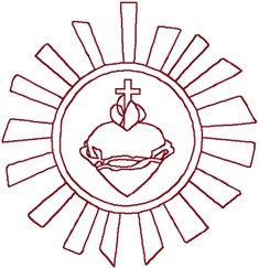 Redwork Sacred Heart Symbol