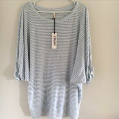 HP Amazing Oversized Rolled Sleeve Tunic Comfy and stylish rolled sleeve tunic by L'agence. Striped pale blue/white. One size. New with tags.  Bundle 3 items and get 25% OFF. Offers welcome. No trades please  L'AGENCE Tops Tunics