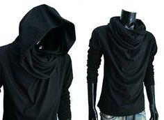 New Men Black Cloak longsleeve turtle cowl neck hood shirt top gym S M L XL XXL