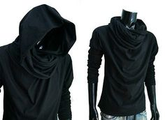 New Men Black Cloak longsleeve turtle cowl neck hood shirt top gym S M L XL XXL
