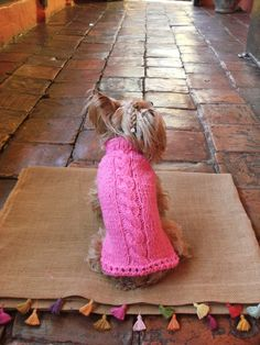Hand-knit Dog Sweater with Hoodie /Pure Wool  /Pink by CasaLunaCo