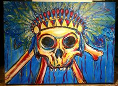 """Acrylic Painting of Skull with Indian Headpiece by Artist """"George Lopez"""""""