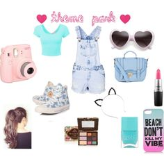 Theme park by michaelalove3 on Polyvore featuring polyvore fashion style New Look Converse Juicy Couture Too Faced Cosmetics MAC Cosmetics Nails Inc.