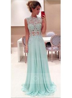 USD$179.00 - High Neck Lace A-Line Evening Dresses 2015 Sweep Train Chiffon Prom Gowns - www.babyonlinedress.com