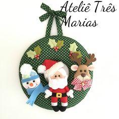 Guirlanda de Natal em feltro, papai noel, boneco de neve, rena, decoração de natal, enfeite de natal
