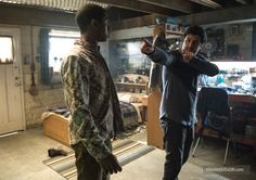 Director  Dean Israelite and RJ Cyler(Billy Cranston/Blue Ranger) On Set Of  Power Rangers(2017)