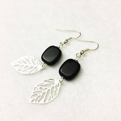 Black and silver bohemian feather earrings with real Czech