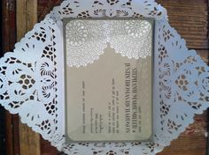PS Wedding. Beautiful DIY invitations with doilies as inner envelope
