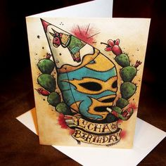 : Blank Birthday Card Lucha Libre Mexican Traditional Tattoo Style ...570 x 570 | 70.9KB | www.loveitsomuch.com