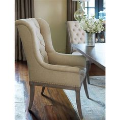 Natalie Host Country French Beige Tufted Wing Chair