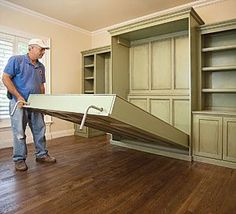 Build a Fold-Down Bed and Get Two Rooms from One. Great idea for guest room!: