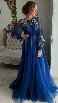 Prom Dresses Long With Sleeves, Plus Size Prom Dresses, Prom Dresses Blue, Modest Dresses, Elegant Dresses, Sexy Dresses, Wedding Dresses, Blue Dress With Sleeves, Summer Dresses
