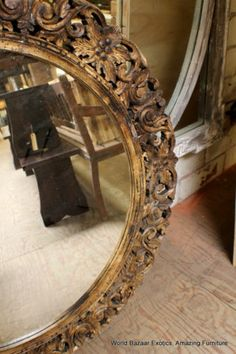 """48"""" Vintage Round Mirror Hand Carved Frame Wood India Beautiful and Spectacular 
