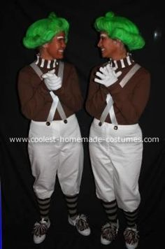 Oompa Loompa Costume: My name Is Jamie and my co worker Monica are just about the same size. We always enjoy making people laugh and thought little dancing  Oompa Loompa's would