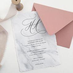 Marble texture, handmade paper, calligraphy wedding invitation