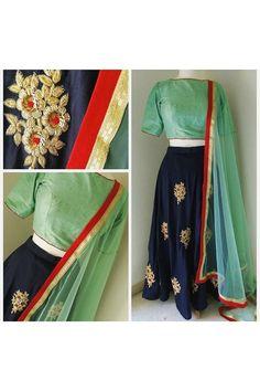 Bollywood Style - Party Wear Navy Blue Silk Lehenga Choli  - L012