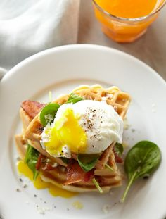 Waffles with Poached Eggs, Bacon and Spinach