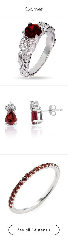 """""""Garnet"""" by martesaltroo on Polyvore featuring jewelry, rings, garnet jewellery, vintage inspired ring, garnet jewelry, cubic zirconia rings, cz jewellery, earrings, white gold garnet earrings and diamond jewelry"""
