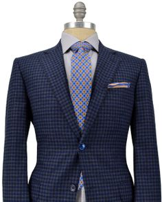 Belvest | Blue and Grey Check Sportcoat | Apparel | Men's