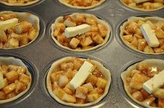 8 cups of diced apples Mix with: 12 tbs of flour 1 1/2c of sugar 4  tsp of cinnamon 1/2 teaspoon of nutmeg -4 tbs of butter cut into 24 portions- -two boxes of pie crusts-NOT frozen-  Unroll pie crust and cut several circles out, a wide mouth mason jar ring works perfectly.  Line your muffin tin with pie crust. Fill the crusts with apple mixture.  Fill until slightly mounded, put a dab of butter on each pie.  Cover with crust & bake at 400 for 18 to 22 minutes. recipe makes 24 mini pies