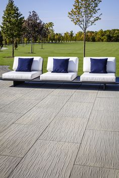 Texturized products and luxuriously raw aesthetics are all the rage in the design world. The new Techo-Bloc Ocean Grande slab's surface was inspired by the imprint left behind in the sand by the ocean's tide. Ocean Texture, Patio Slabs, Ocean Shores, Backyard Patio Designs, Backyard Retreat, Outdoor Planters, Pool Decks, Color Pallets, Fence Ideas