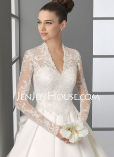 Wedding Dresses - $221.99 - A-Line/Princess V-neck Cathedral Train Satin Wedding Dresses With Lace  Beadwork (002004745) http://jenjenhouse.com/A-line-Princess-V-neck-Cathedral-Train-Satin-Wedding-Dresses-With-Lace--Beadwork-002004745-g4745