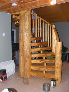spiral log staircase