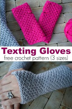 In the market for some new texting gloves? If you can crochet the single crochet you can make the gloves! Three sizes include child, adult small, and large. via gratis fingerlose Handschuhe Texting Gloves Crochet Pattern (child, adult small, large) Fingerless Gloves Crochet Pattern, Crochet Slippers, Knitted Gloves, Crochet Beanie, Fingerless Mittens, Crochet Mittens Free Pattern, Crotchet, Crochet Simple, Free Crochet