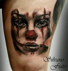 Clown Girl Head Tattoo Design For Bicep