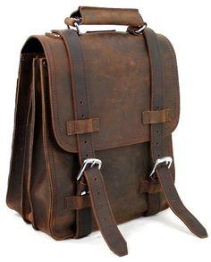 Full Leather Sport Motor Travel Backpack W/3 Straps 3 Rooms http://www.TravelBagsBlog.com