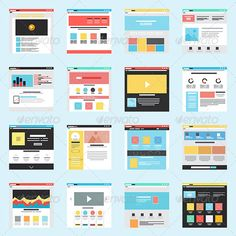 Set of Flat Website Templates #jpg #image #prototype #mockup • Available here → https://graphicriver.net/item/set-of-flat-website-templates/8250259?ref=pxcr