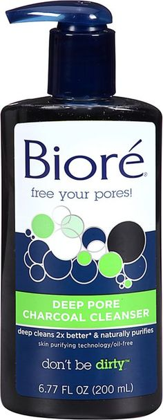 Biore Deep Pore Charcoal Cleanser - draws our and traps 2x more dirt and impurities than a basic cleanser for deeply cleaned, tingly smooth skin..