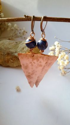 Copper earrings with natural Lapis Lazuli by Tangledworld on Etsy