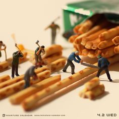 Breadstick lumberjacks. Miniature photography