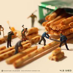 Breadstick lumberjacks. Miniature photography