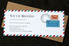 moving announcement  vintage air mail by calliespondence on Etsy.
