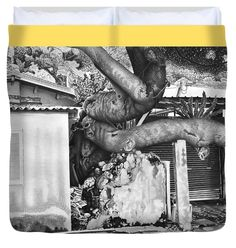Landscape Duvet Cover featuring the drawing Power Of Nature by Michal Straska