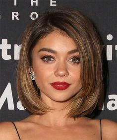 Sarah Hyland Medium Straight Bob. Try on this hairstyle and view styling steps! http://www.thehairstyler.com/hairstyles/formal/medium/straight/Sarah-Hyland-beautiful-blow-waved-hairstyle