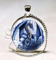 Blue Dragon pendant charm, Dragon necklace Glass Tile pendant, Dragon Photo necklace charm (PD0116). $8.95, via Etsy.