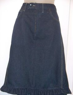 How to recycle a pair of trousers into a skirt. Jeans To Ruffle Pencil Skirt - Step 16