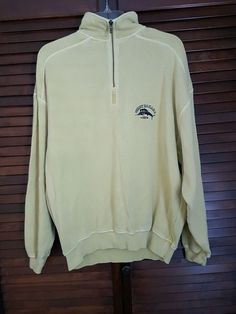 Mens Tommy Bahama Pale Yellow Zipper Long Sleeve Sweatshirt 100 % Cotton Medium | Clothing, Shoes & Accessories, Men's Clothing, Sweats & Hoodies | eBay!